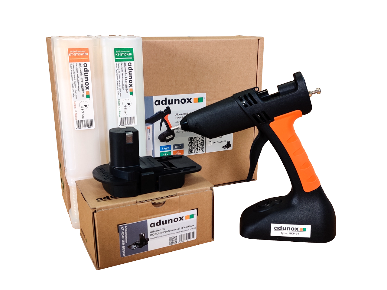 Akku-Heißklebepistole HKP-01   Adapter für 18V-Akku von Bosch® Professional   1x adunox®-EXTREME48   1x adunox®-EXTREME180